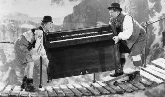 1938 --- A scene from Swiss Miss (1938), later also featured in The Crazy World of Laurel and Hardy (1967). --- Image by © Bettmann/CORBIS