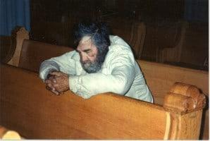 homeless man in church