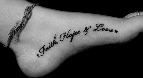 Faith Hope Love Foot Tattoo